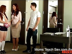 Horny mom teaches not her stepdaughter how to fuck porn