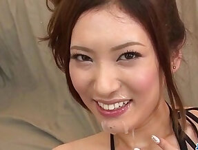 Yui Kasuga fucked hard style in group with toys and jizzed on face