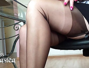Miss adrastea nylonfeet under the table