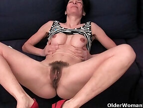Older women soaking their cotton panties with her shaved pussy juice