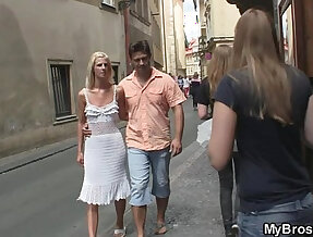 Czech blonde cheats with brother