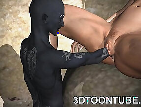3D toon elf babe in stockings gets fisted and fuckced hard