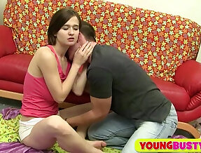 Cutie with natural hangers gets fucked