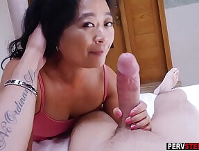 Asian mature stepmom knows what is best for him