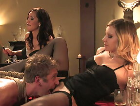 Slaveboy teased and mistreated by horny girls