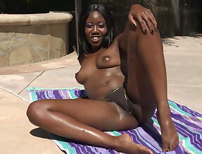 Black girl showing her pussy outside